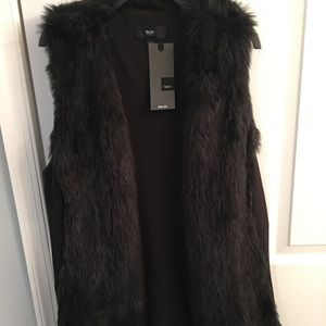 Mossimo Black faux fur long vest